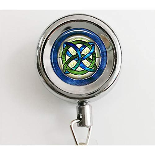 Celtic Wedding Jewelry - Stained Glass Green and Blues Celtic Knot - Celtic Knot Hanger - Irish Jewellery - Celtic Bridal Jewelry Retractable Badge Reel with Waterproof ID Holders & Keychain (Irish Retractable Badge Holder)