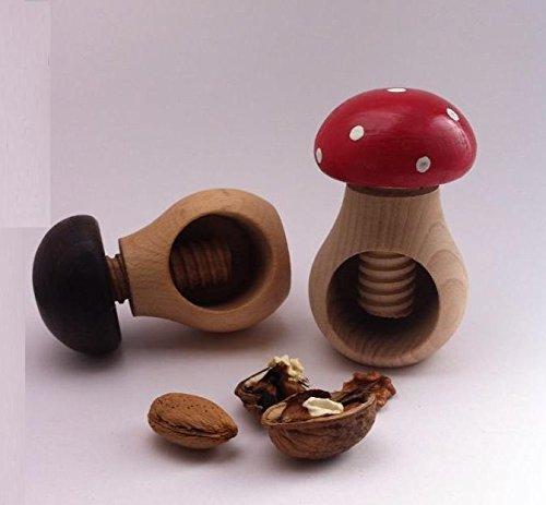 2 cascanueces para almendras o avellanas con forma de seta en madera de haya europea. Sables & Reflets