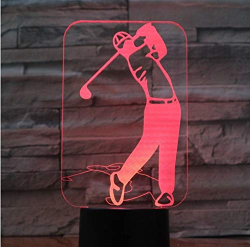 RTYHI Golf Player 3D Led Lamp 7 Colorful Acrylic Lamp As Home Decorations Lights Best Gift for Husband Father Friends