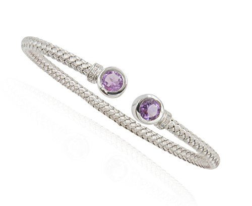 SilverLuxe Sterling Silver Weave Cuff Bracelet with Genuine Amethyst and Cubic Zirconia