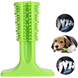 KALENI Dog Toothbrush Stick-Puppy Dental Care Brushing Stick Effective Doggy Teeth Cleaning Massager Nontoxic Natural Rubber Bite Resistant Chew Toys (Green)