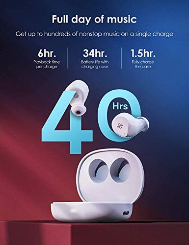 Bluetooth Earbuds, Boltune Bluetooth 5.1 with 4 Mics Ultralight Comfort Wireless Earbuds, CVC 8.0 Stereo Sound Deep Bass, IPX8 Waterproof in-Ear Headphones, Single/Twin Mode for iPhone/Android