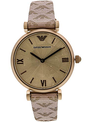 Emporio Armani Women's Stainless Steel Quartz Watch with Leather Calfskin Strap, Pink, 14 (Model: AR11126