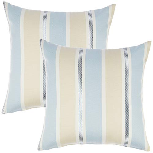 Redearth Designer Square Striped Throw Pillow Covers Woven Cushion Cases Set for Couch, Sofa, Bed, Farmhouse, Chair, Dining, Patio, Outdoor, car Cotton (18x18; Sky Blue) Pack of 2 (Designer Luxury Furniture Outdoor)