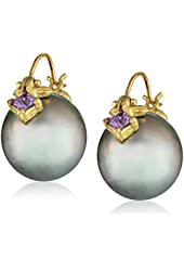 Gabrielle Sanchez Grey Tahitian Pearl (12.5x13mm) Flyer with Princess-Cut Sapphire Earrings