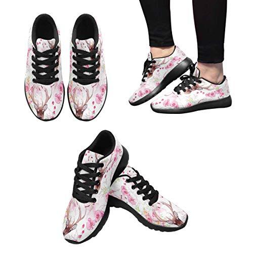 Pink Flowers Women's InterestPrint and Design Shoes 3 Trail Running Graceful Reindeer 8dd0qw