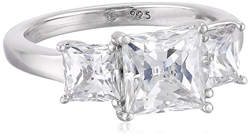 Platinum-Plated Sterling Silver Princess-Cut 3-Stone Ring made with Swarovski Zirconia (3 cttw), Size 6 ()
