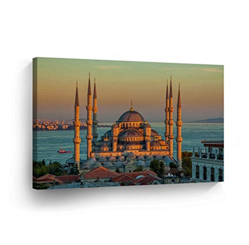 SmileArtDesign Islamic Wall Art Blue Mosque and The Istanbul Canvas Print Home Decor Arabic Calligraphy Decorative Artwork Gallery Stretched and Ready to Hang -%100 Handmade in The USA - 19x28 by SmileArtDesign