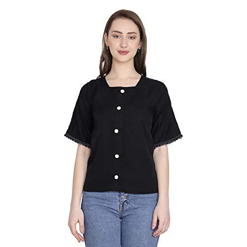 GENEALO Casual Half Sleeve Solid Women Top