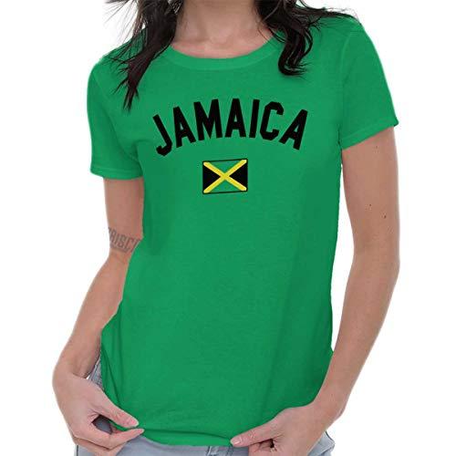 Womens Football Cut T-shirt (Brisco Brands Womens T Shirts Jamaica Flag Athletic Soccer JamaicanNational Flag Pride Irish Green)