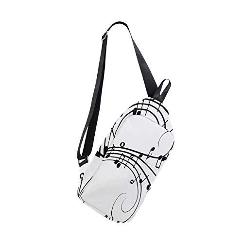 Sling Bag Musical Notes Drawing Womens Chest Shoulder Backpacks Crossbody Unbalance ()
