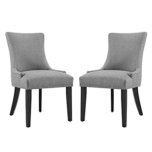 Modway Marquis Modern Elegant Upholstered Fabric Parsons Two Dining Side Chair Set With Nailhead Trim And Wood Legs In Light Gray