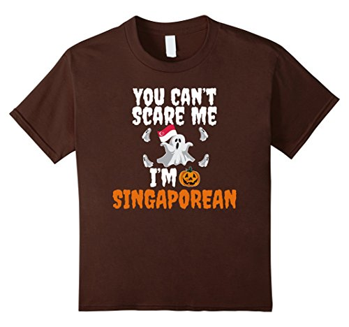 [Kids Can't Scare Me I'm Singaporean Funny Scary T-shirt Halloween 8 Brown] (Singaporean Costume Kids)