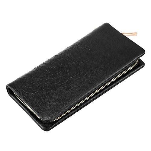 Black Cowhide embossed Wallet Soft Leather Ladies Kattee Flower Clutch 8Zaqpo