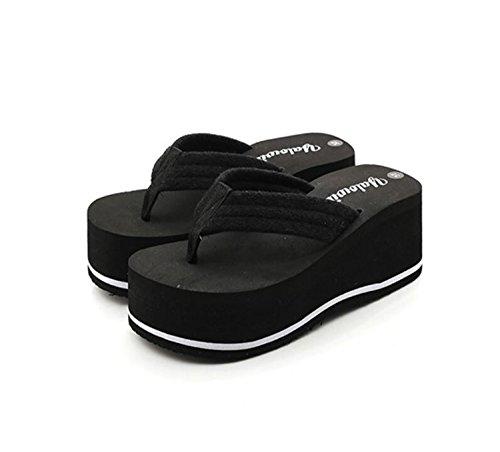 D'Été Tongs Hauts Rose Femmes Noir Chaussures de Black Blanc Talons Anti Talons et Vacances Pantoufles Talons Dérapant Tongs à DANDANJIE vq0wT5v