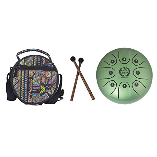 Baosity Stainless Steel Tongue Drum Handpan Mallets Carry Bag for Yoga Meditation - Green by Baosity