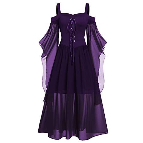 TWGONE Goth Dress for Women Plus Size Cold Shoulder Tie Front Lace Sleeve Halloween Dresses (XXXXX-Large,Dark Purple)