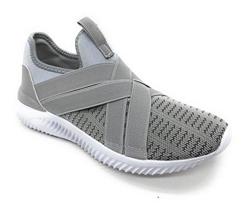 Blaue Berry EASY21 Frauen-beiläufige Art- und Weiseturnschuhe Breathable athletische Sport-leichte Schuhe Grau / Weiß / Weiß