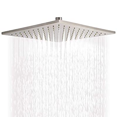 Brass Shower Head and Rainfall High Pressure 10 Inches(144 Jets)-Adjustable Brass Swivel Ball Joint-Removable Water restrictor -Luxury Chrome Finish (Square)...