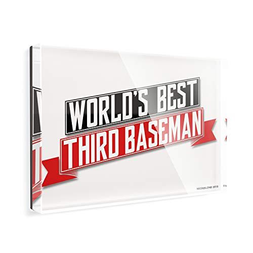 Acrylic Fridge Magnet Worlds Best Third Baseman NEONBLOND