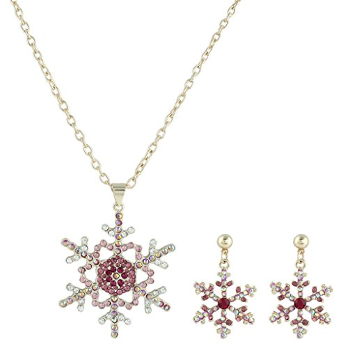EVER FAITH Gold-Tone Snowflake Necklace Earrings Set Pink AB Austrian Crystal