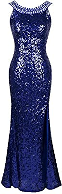 Angel-fashions Women's Round Neck Beading Sequin Backless Slit Party Dress