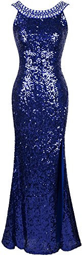 Angel-fashions Women's Round Neck Beading Sequin Backless Slit Party Dress (Women Round Neck Rhinestone)