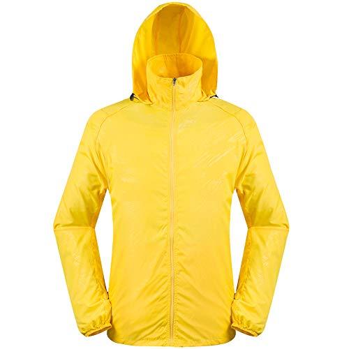 Xinhai7682 air veste en veste plein d'exécution Veste cours de capuche Zipper jaune à vent unisexe coupe pluie en veste respirante en sport vent air coupe plein imperméable PZOXiuk