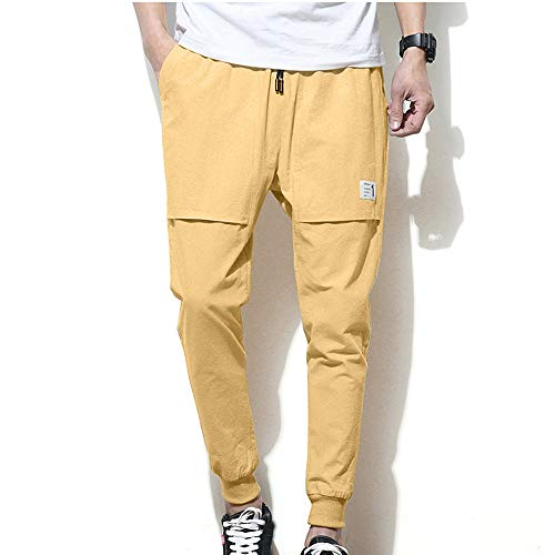POHOK Clearance Men's Trousers Pure Color Trousers Baggy Pencil Pants Feet Casual Haren Pants