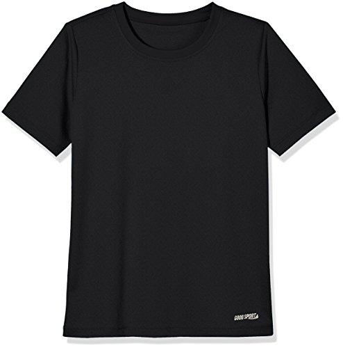 Goodsport Boy's Crew Neck Short Sleeve Moisture Wicking Activewear Top, Black, Large