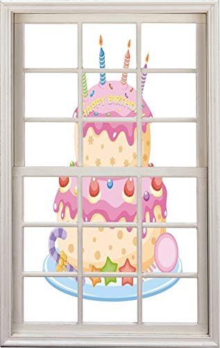 3D Window Decal Wall Sticker,Pastel Colored Birthday Party Cake with Candles,Home Decor Stickers