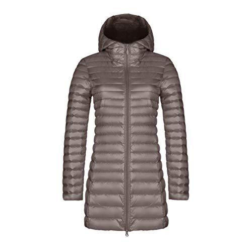 Piumini Slim Hooded imbottito Hooded Cappotti Feather Coat Ultralight Women Zkooo Khaki Warm Long Winter 5FzXw