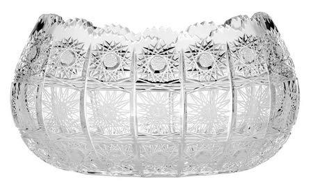 Aurum Crystal AU50411, 10'' Dia Centerpiece Bowl w/Geometrical Crystal Cut Design, Elegant Home Decor Vintage Deep Fruit Platter w/Scalloped Edges, Decorative Candy/Snacks Deep Dish, Wedding Gift