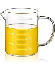Glass Beaker with Handle, Graduated Beaker Mug with Measurement for Milk, Juice, Beer, Coffee, Baking, Cooking, Pouring Liquid