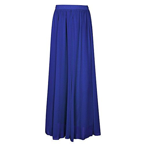 Femme Jupe longue CoutureBridal Jupe Saphir 90cm d't Elastic Bleu Ceinture Chiffon Hqw4AZUx