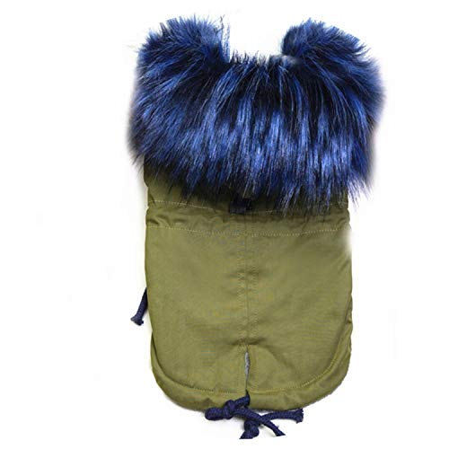 Fanatical-Night Winter Faux F-ur Collar Dog Coat Small Dog Clothes Windproof Pet Parka Warm Puppy Jacket,Army Green,L