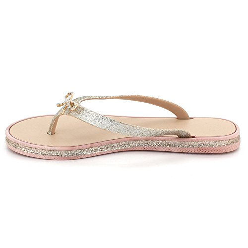 Women Ladies Toe Post Sparkly Evening Casual Flat Diamante Soft Summer Lightweight Slipper Sandal Shoes Size Pink qCcme