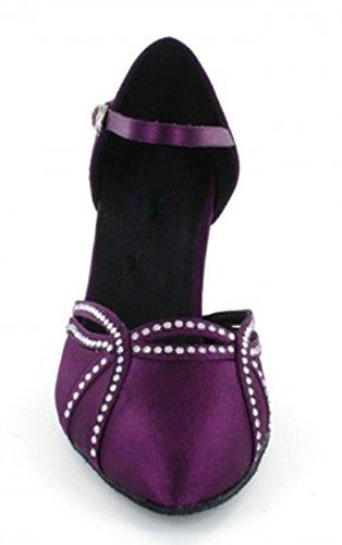 Tda Donna Tacco A Spillo Singolo Raso Scarpe Da Ballo Latino Scarpe Da Sposa Viola-7,5 Centimetri Tacco