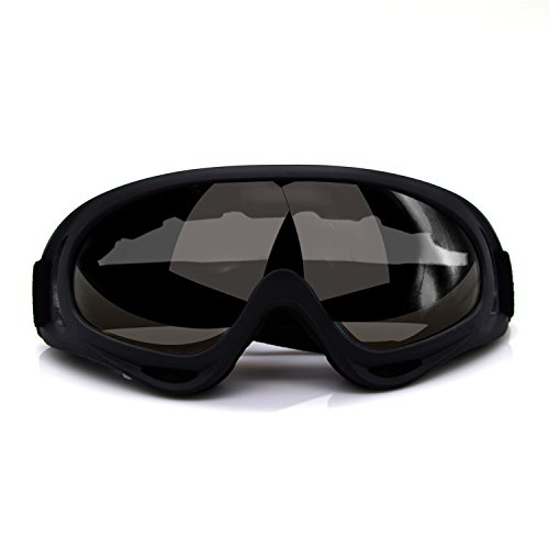 Elemart Adjustable UV Protective Outdoor Glasses Motorcycle Goggles Dust-proof Protective Combat Goggles Military Outdoor Tactical Goggles to Prevent Particulates and Fog in Dark - Dark Goggles