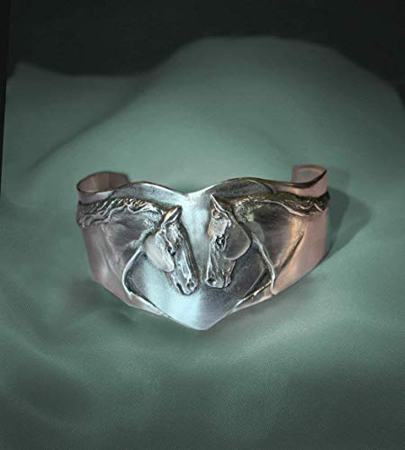 Horse Lady Gifts bracelet, Horse Lovers Cuff, Two sculptured horses on a heart shape in silvery pewter, handmade USA.