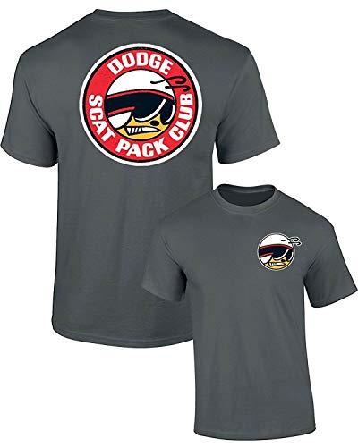 Dodge SCAT Pack Club Mopar T-Shirt Front & Back, Charcoal, XL
