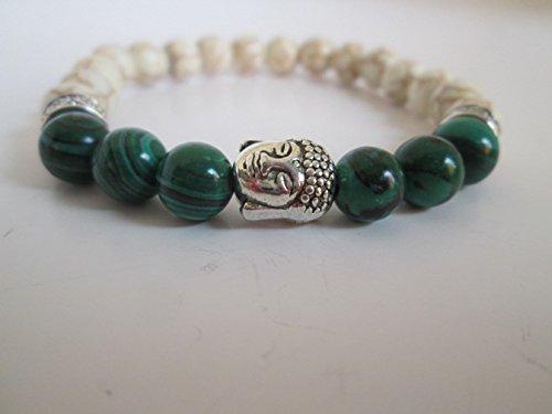 (Stunning Silver Buddha, Green Malachite Stone and White Howlite Beaded Bracelet)