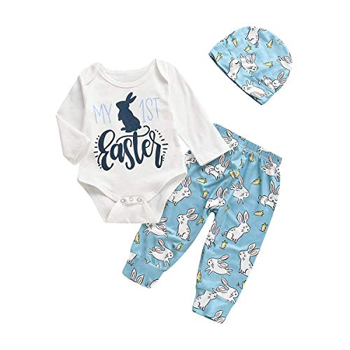(3PC Newborn Baby Girl Boy My First Resur Rection Letter Bunny Print Leotard Jumpsuit +Rabbit Pants Hat Easter Costume (Blue-Long Sleeve, 6-12)
