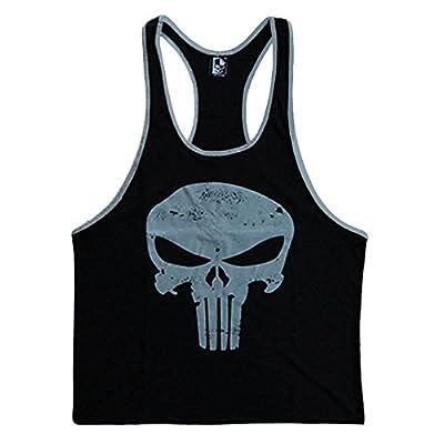 Skull Men's Stringer Bodybuilding Fitness Muscle Workout Gym Tank Top Singlet