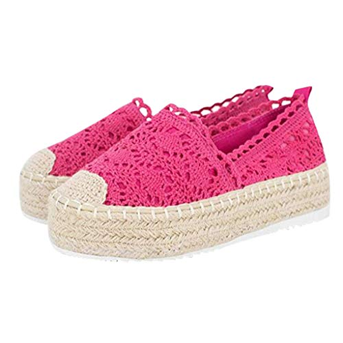Veodhekai Womens Platform Shoes Hollow Solid Color Breathable Wedge Espadrilles Thick Bottom Shoes Cute Hot Pink