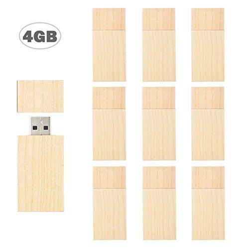 Flash Drive 4GB, USB 2.0 Wooden Flash Drive TEWENE Swivel Thumb Drives Zip Drive Memory Drive Jump Drives for Kids (4GB-10 Pack)