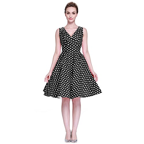 Heroecol Vintage 1950s 50s Dress Style Retro Rockabiily Cocktail Poka Dot XL BW