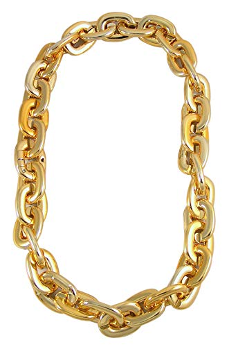 (Chunky Gold-Toned Plastic Chain Necklace with Flashing LED Lights, 18 Inches)