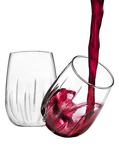 Godinger Aerating Wine Glasses Stemless Goblets Wine Aerator, Made in Italy - 16oz, SET OF 8