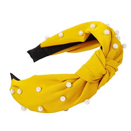 Headbands for Women, Bow Knot Beading Hair Band Simple Sweet Girls Hair Head Hoop Headwraps Headband (Yellow)